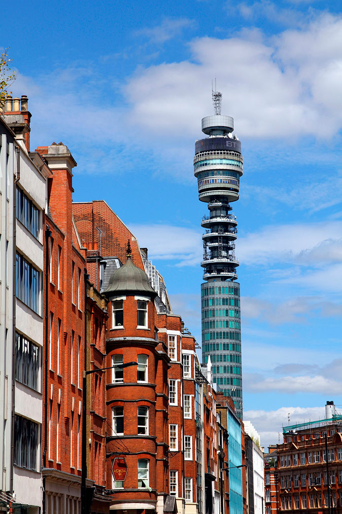 The landmark BT Tower in Fitzrovia